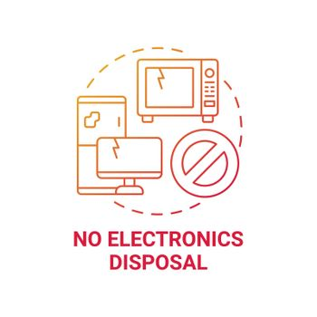 No electronics disposal red gradient concept icon