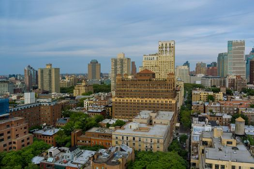 Panoramic view of New York City of landscape skyline buildings in the on a highway running through Brooklyn view