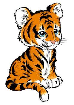 vector Illustration of cute baby tiger lies