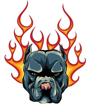 Bull Dog Flame Tattoo in Beast Mode illustration