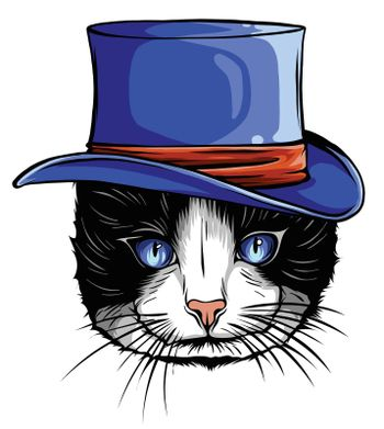 Vector funny British cat hipster in the gray hat, eyeglasses and bowtie illustration