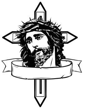 vector illustration of jesus christ carrying cross