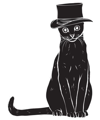 Vector funny British cat hipster in the gray hat, eyeglasses and bowtie