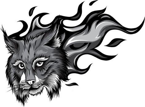 monochromatic Lynx animal face. Vector Eurasian lynx cat head portrait.