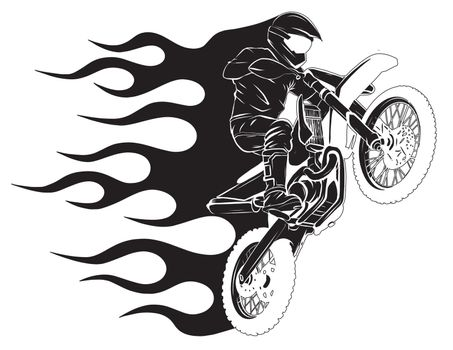 Motorbike cross stunt flaming vector illustration with fire