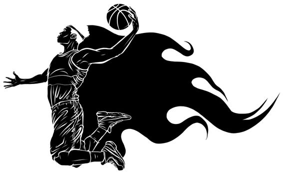 black silhouette Digital illustration painting of a basketball player vector