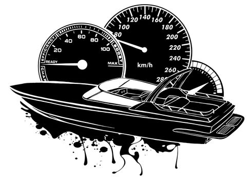 black silhouette Racing boat. Top view. Vector illustration. Applique with realistic shadows.