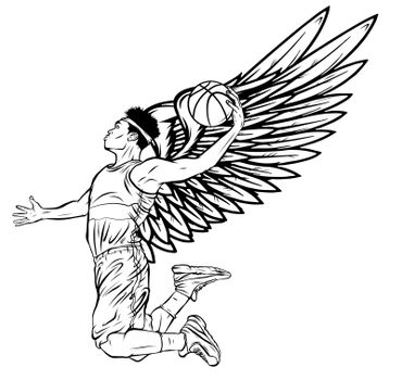 Basketball player jumps to dunk vector illustration