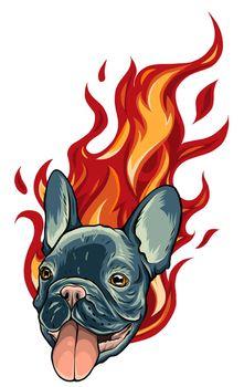 Bull Dog Flame Tattoo in Beast Mode