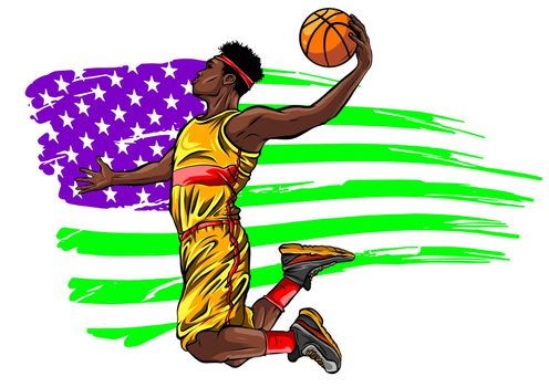 Digital illustration painting of a basketball player vector