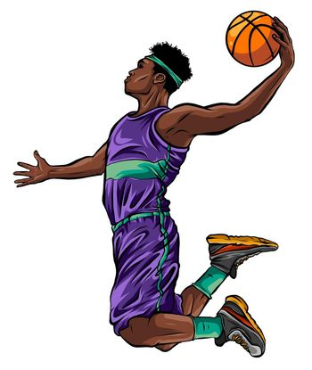 cartoon basketball player is moving dribble with a smile vector