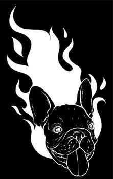 silhouette Bull Dog Flame Tattoo in Beast Mode