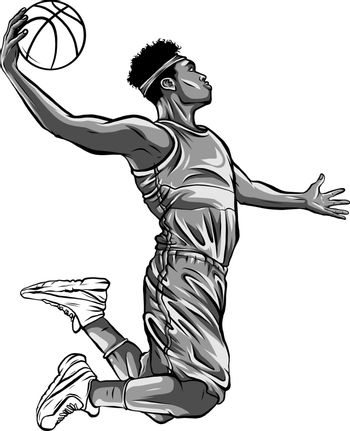 monochromatic cartoon basketball player is moving dribble with a smile vector