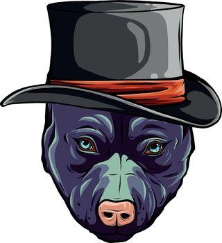 pitbull dog with hat vector illustration design