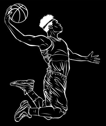 silhouette cartoon basketball player is moving dribble with a smile vector