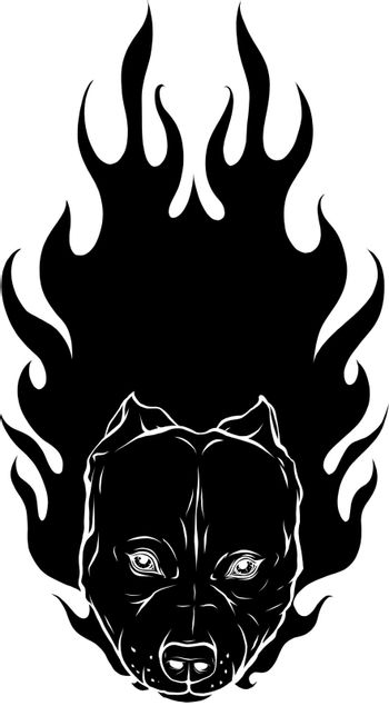 black silhouette of head of Bull Dog with Flame vector