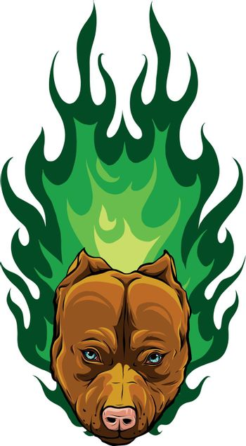 head of Bull Dog with Flame vector