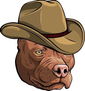 gangster pitbull with fedora hat vector illustration