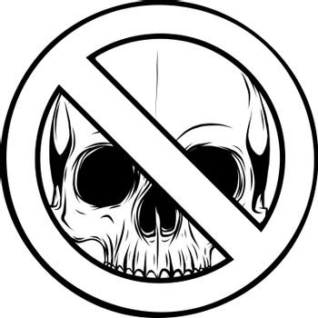 draw in black and white of Prohibited Warning skull icon. vector illustration design