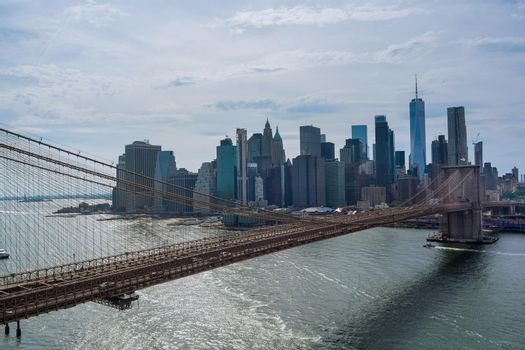 Panorama aerial view cityscape high-rise buildings in metropolis city center Manhattan skyline view the Hudson river