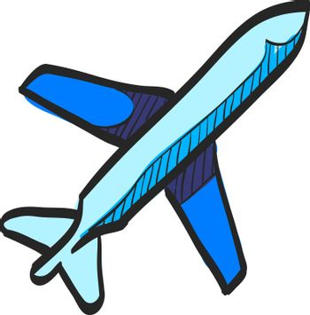 Airplane icon in color drawing. Aviation transportation take-off travel passenger top view