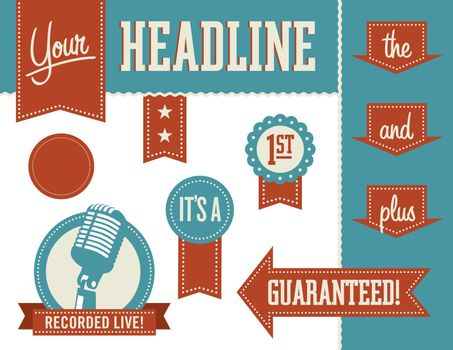 Vector Design Elements including badges and banners