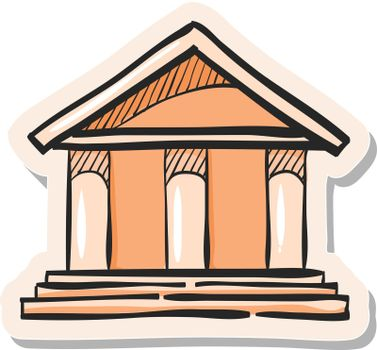 Hand drawn sticker style icon Bank building
