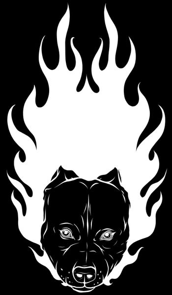 white silhouette of head of Bull Dog with Flame vector