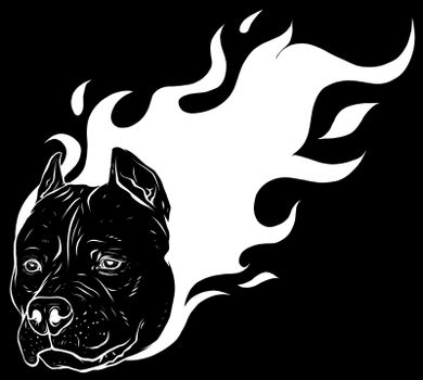 white silhouette of head of dog pitbull with flames vector