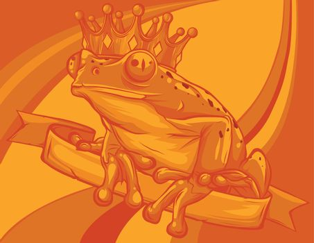 Frog Prince waiting to be kissed vector illustration