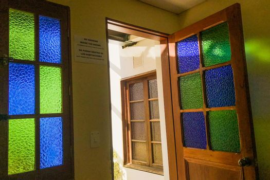Stained glass windows from hostel in Colombia.