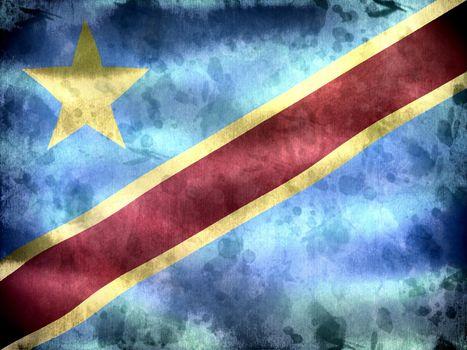 Democratic Republic of the Congo flag - realistic waving fabric flag