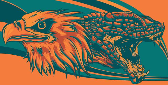 eagle fighting a snake serpent . style vector