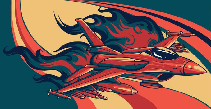 vector illustration combat aircraft on colored background