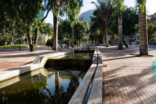 Downtown Bogota, Colombia waterway with palm trees.