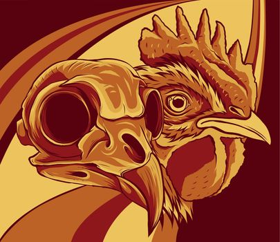 Chicken with Skull vector and artwork illustration