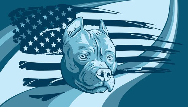 Head of pitbull with american flag vector illustration