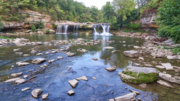 River and basin that flows away from the Cataract Falls