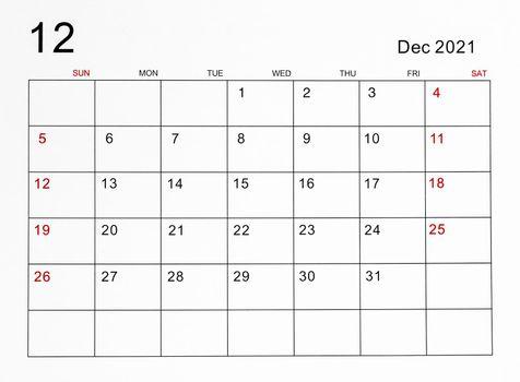 The December 2021 calendar.