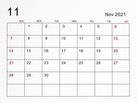 The November 2021 calendar