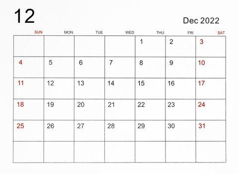 December 2022 calendar template.