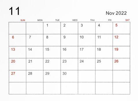 November 2022 calendar template.