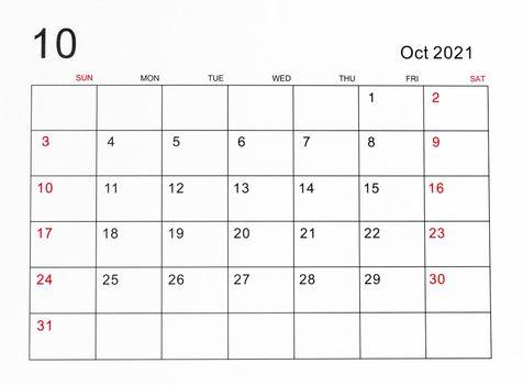 October 2021 calendar.