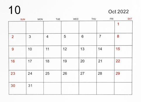 October 2022 calendar template.