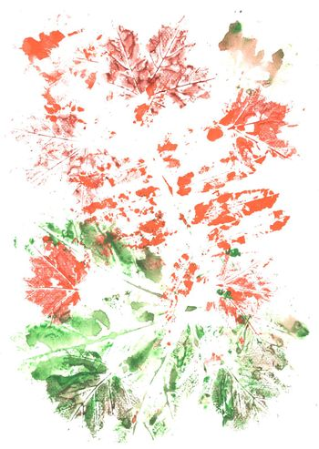 Colorful green, orange, brown background painted by brush with imprinted leaves pattern. Gouache painting.