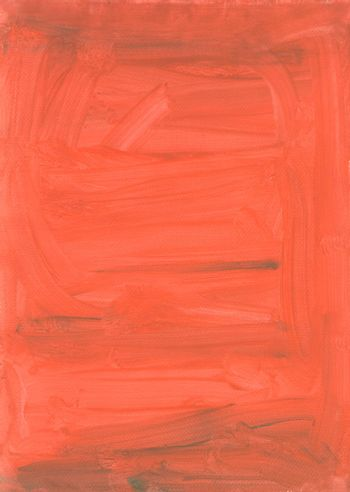 Orange background painted by brush. Gouache painting. Brush strokes texture.