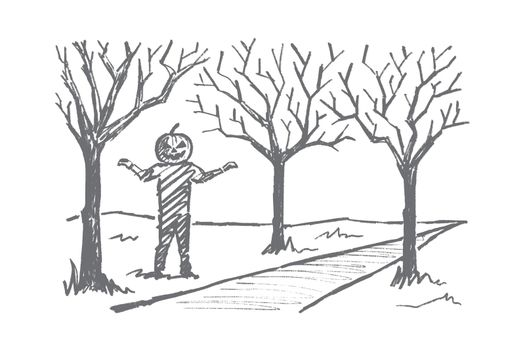 Hand drawn man with Halloween pumpkin head smiling