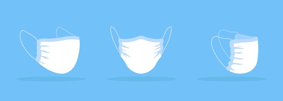 No-pleat face mask with gathered sides white mockup