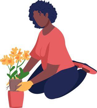 Woman gardening semi flat color vector character