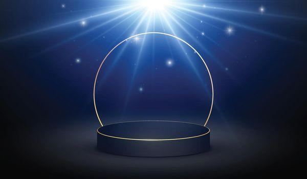 Black gilded podium background with magic light.